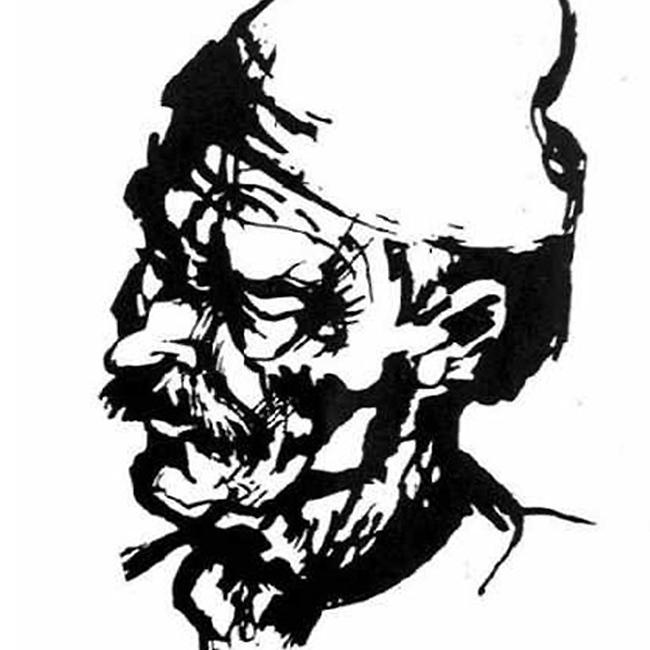 Peasant head study, reed pen and ink drawing, 1980, Budapest